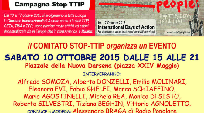 10 ottobre: manifestazione Stop TTIP in Darsena a Milano