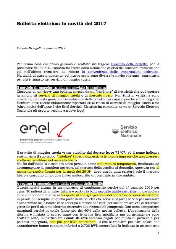 Bolletta elettrica _ le novità del 2017